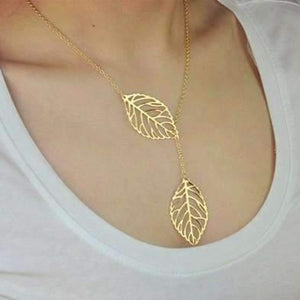Feshionn IOBI Necklaces Yellow Gold Plated ON SALE - Leaf Tassle Necklace in Yellow Gold or White Gold