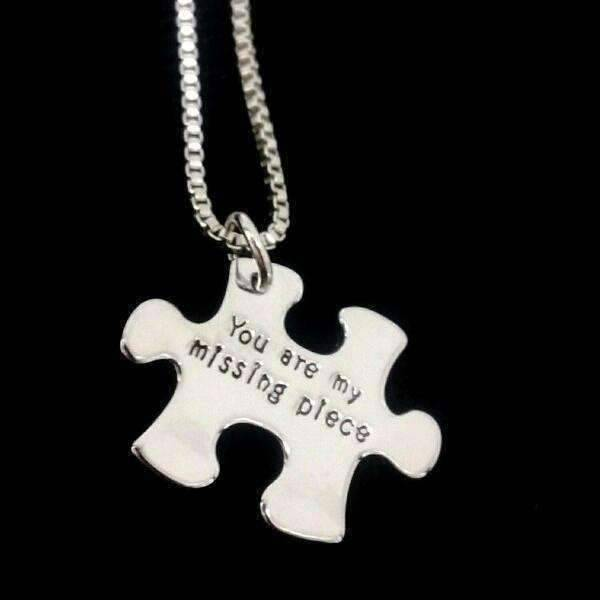 "Feshionn IOBI Necklaces Silver ""You Are My Missing Piece"" Inspirational Stamped Puzzle Charm Necklace"