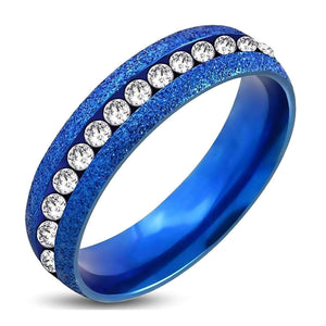 Feshionn IOBI Rings 10 / Blue Blue and White Channel Set CZ Eternity Ring