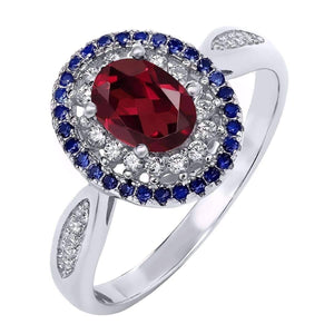 Feshionn IOBI Rings 5.5 Clarice 1.5CT Oval Cut Genuine Rhodolite Garnet IOBI Precious Gems Ring