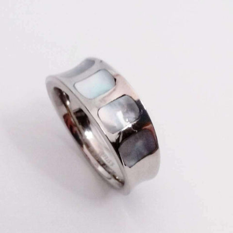 Feshionn IOBI Rings 5.5 / Stainless Steel Mother of Pearl Shell Inlaid Stainless Steel Band Ring