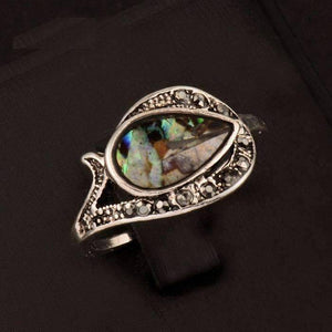 Feshionn IOBI Rings 5.5 Tear Drop Abalone Shell and Black Crystal Vintage Silver Ring