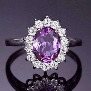Feshionn IOBI Rings 5 Alexandrite Sapphire Oval Cut 2.5CT IOBI Precious Gems Halo Ring