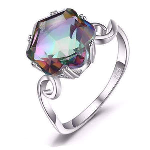 Feshionn IOBI Rings 5 Carnivale 3.2CT Buff Top Crown Rainbow Fire Mystic Topaz IOBI Precious Gems Ring