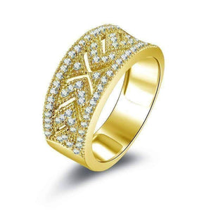 Feshionn IOBI Rings 5 Charlize .38CT Pavé and Filigree 10K Solid Yellow Gold Band IOBI Cultured Diamond Ring