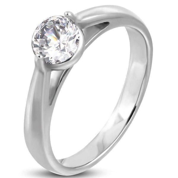 Contemporary Cathedral Set 1ct Round Cz Solitaire