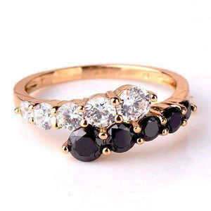"Feshionn IOBI Rings 5 / Gold ""Date at Eight"" 1.3ct Black and White CZ Cocktail Ring"