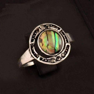 Feshionn IOBI Rings 5 Halo Abalone Shell and Black Crystal Vintage Silver Ring