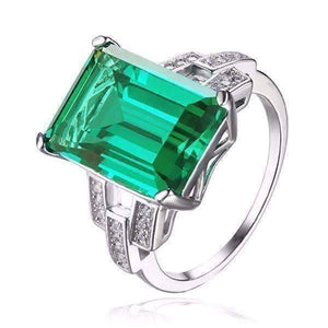 Feshionn IOBI Rings 5 Heritage 9CT Emerald Cut Simulated Russian Emerald IOBI Precious Gems Ring