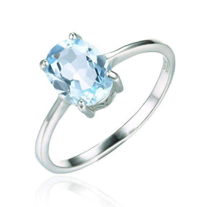 Feshionn IOBI Rings 5 / Ice Blue Oval Ring Ice Blue Genuine Topaz Oval Cut 1.5 CT IOBI Precious Gems Ring