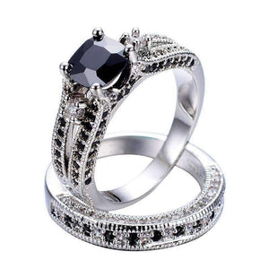 Feshionn IOBI Rings 5 Midnight Rendezvous Black CZ Solitaire Engagement Ring Set