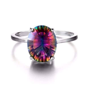 Feshionn IOBI Rings 5 / Oval Rainbow Ring Genuine Rainbow Fire Mystic Topaz Oval Cut 3.4CT IOBI Precious Gems Ring