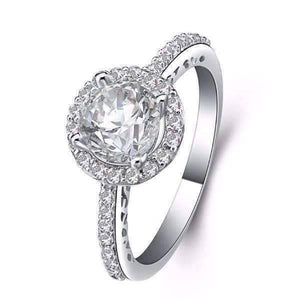 Feshionn IOBI Rings 5 / Platinum Céleste 1CT Round Cut Halo Set IOBI Cultured Diamond Ring