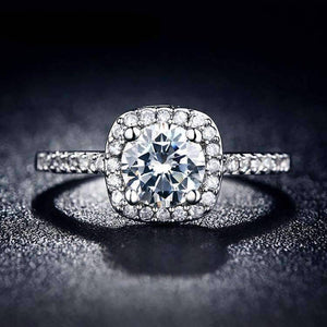 Feshionn IOBI Rings 5 / Platinum Dazzling Halo 2 CT Cushion Cut Simulated Diamond Ring