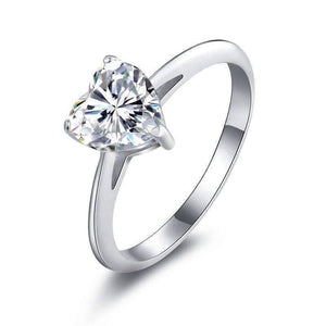 Feshionn IOBI Rings 5 / Platinum Lissette 1.5CT Heart Solitaire IOBI Cultured Diamond Ring