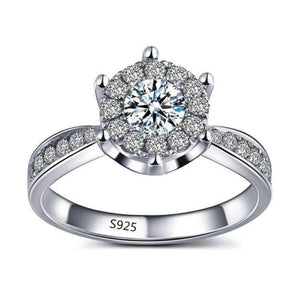 Feshionn IOBI Rings 5 / Platinum ON SALE - L'Amour 2.6 CT Cluster Set Simulated Diamond Solitaire Ring