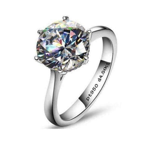 Feshionn IOBI Rings 5 / Platinum Victoria 4CT Round Cut IOBI Cultured Diamond Solitaire Ring