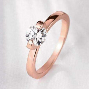 "Feshionn IOBI Rings 5 / Rose Gold Two Prong ""V"" Set Solitaire Ring - Choose Your Color Ring"