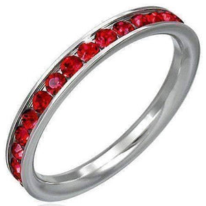 Feshionn IOBI Rings 5 / Ruby Red CLEARANCE - Ruby Red CZ Eternity Ring Comfort Fit Stainless Steel Band