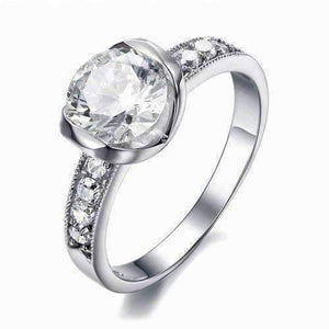 Feshionn IOBI Rings 5 / Stainless Steel Eternal Love CZ Solitaire Stainless Steel Engagement Ring