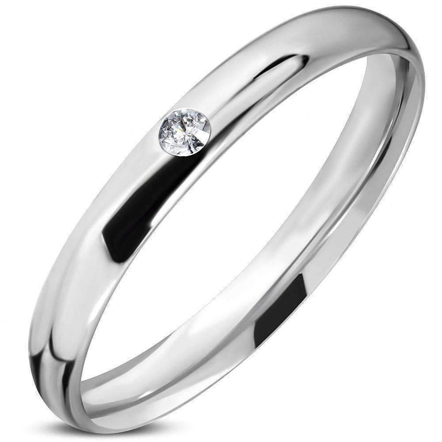 "Feshionn IOBI Rings 5 / Stainless Steel ON SALE -  ""The Little Silver Band"" - Thin Stainless Steel CZ Ring"
