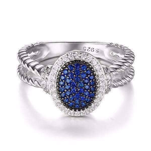 Feshionn IOBI Rings 5 Starlight Blue Spinel Pavé Halo IOBI Precious Gems Ring