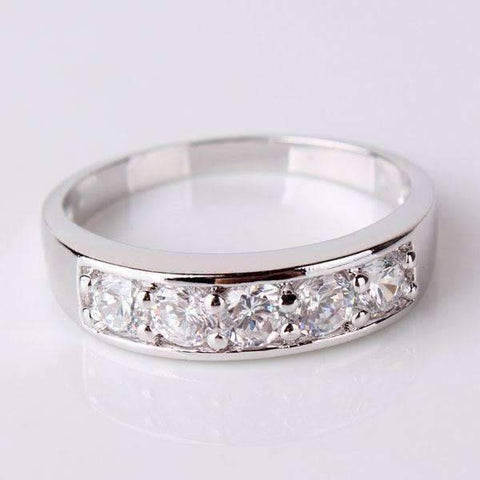 Feshionn IOBI Rings 5 / White Gold J'adore Five Stone Channel Set  1.25 ct CZ Anniversary & Wedding Band Ring