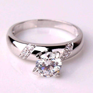 Feshionn IOBI Rings 5 / White Gold Ribbon Inlaid .75ct Swiss CZ Solitaire Engagement Ring