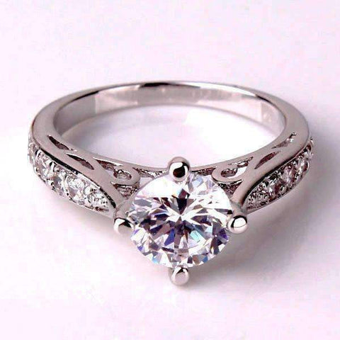 Feshionn IOBI Rings 5 / White Vintage Filigree Channel Set Round CZ Solitaire Engagement Ring