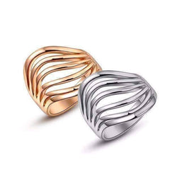 "Feshionn IOBI Rings 6 / 18k Rose Gold ""Contour"" Six Line Ring in 18k Rose Gold or White Gold"