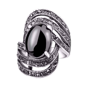 Feshionn IOBI Rings 6.5 / Black Tournée Oval Cabochon and Black Marcasite Crystal Ring