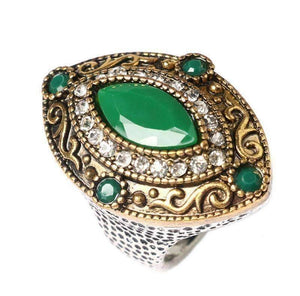 Feshionn IOBI Rings 6.5 / Green Renaissance Era Bejeweled Cocktail Ring