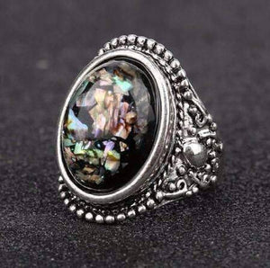 Feshionn IOBI Rings 6.5 ON SALE - Abalone Cabochon Vintage Style Silver Ring