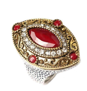 Feshionn IOBI Rings 6.5 / Red Renaissance Era Bejeweled Cocktail Ring