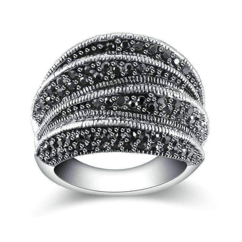 Feshionn IOBI Rings 6.5 Twisted Black Marcasite Vintage Cocktail Ring