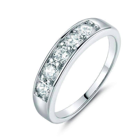 Feshionn IOBI Rings 6.75 / White Gold J'adore Five Stone Channel Set  1.25 ct CZ Anniversary & Wedding Band Ring