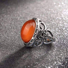 Feshionn IOBI Rings 6 Carnelian Cabochon Silver Cocktail Ring