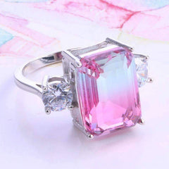 Feshionn IOBI Rings 6 Cotton Candy Emerald Cut Simulated Tourmaline Ring