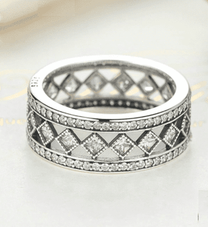 Feshionn IOBI Rings 6 Diamond Harlequin Pattern CZ Sterling Silver Eternity Band Ring