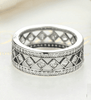 Image of Feshionn IOBI Rings 6 Diamond Harlequin Pattern CZ Sterling Silver Eternity Band Ring