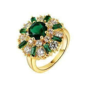 Feshionn IOBI Rings 6 Empress of Emeralds 2ct Green Austrian Crystal Flower Cocktail Ring