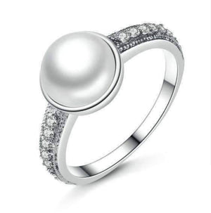Feshionn IOBI Rings 6 Freshwater Pearl and CZ Sterling Silver Ring