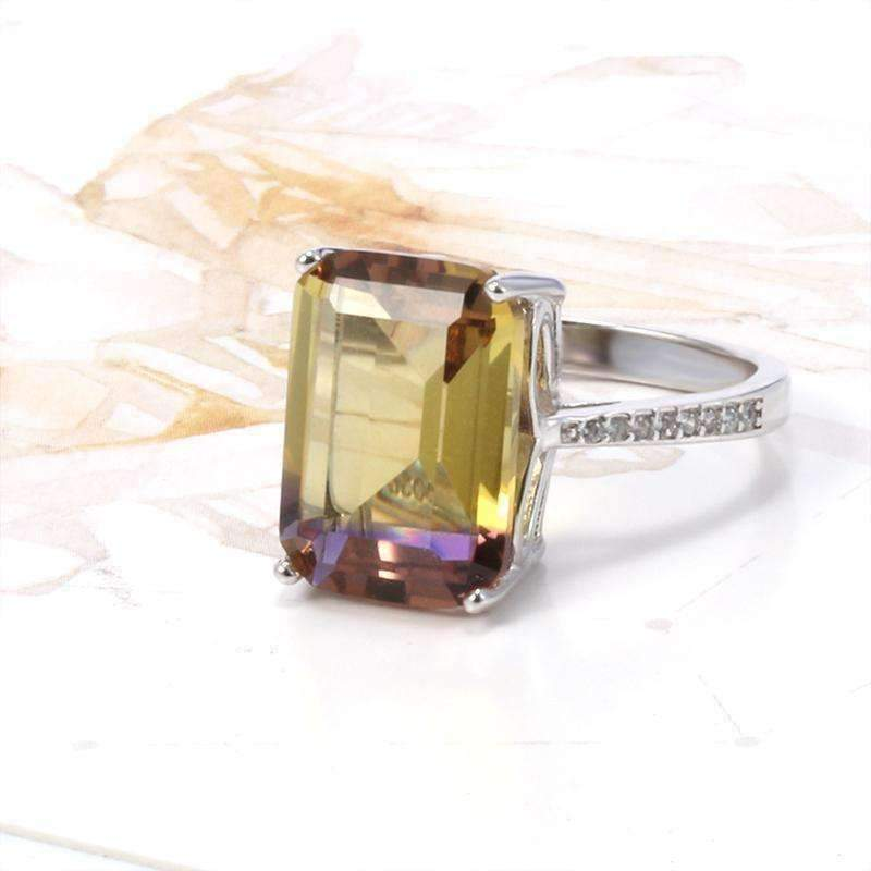Feshionn IOBI Rings Harmony Emerald Cut Simulated Ametrine Solitaire Ring