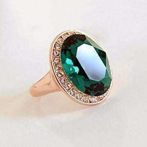 "Feshionn IOBI Rings 6 ""High Society"" Classic Oval Emerald and Diamond Austrian Crystal Halo Cocktail Ring"