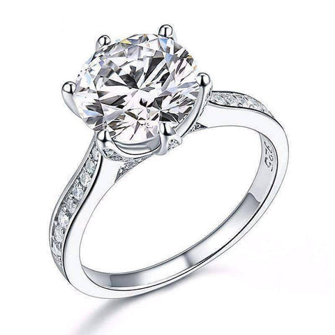 Feshionn IOBI Rings 6 Lavish Fire 3CT Simulated White Sapphire Triple Pavé Trellis Solitaire Ring