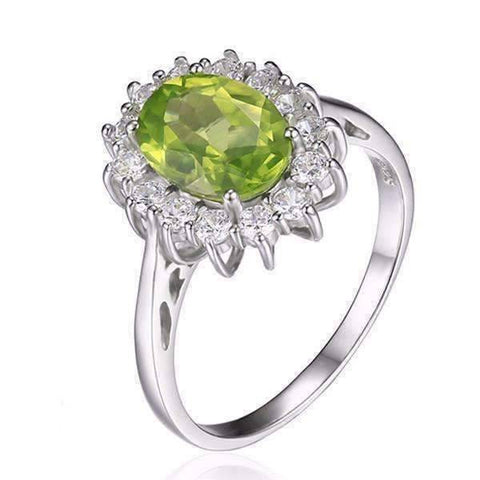 Feshionn IOBI Rings 6 Milan Green Halo Oval Cut 2.5CT Genuine Peridot IOBI Precious Gems Ring