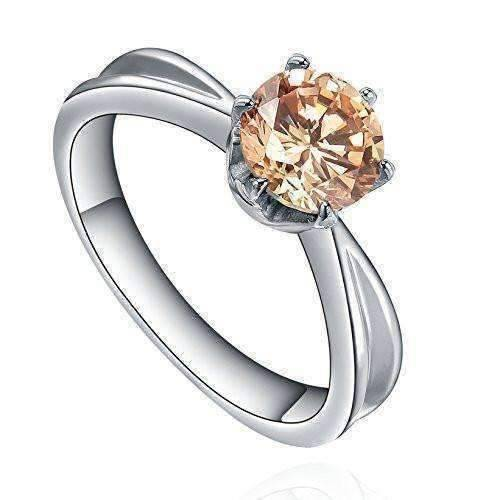 "Feshionn IOBI Rings 6 ""Mimosa"" Champagne Color Round Swiss CZ Solitaire Ring in Stainless Steel"