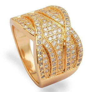 Feshionn IOBI Rings 6 ON SALE - Vintage French Braid Micro Pavé Set Cubic Zirconia Wide Band Ring