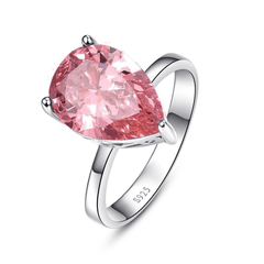 Feshionn IOBI Rings 6 Persian Pink Pear 8.5CT Pink Topaz IOBI Precious Gems Ring