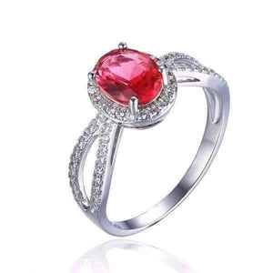 Feshionn IOBI Rings 6 / Pink Oval Ring Pink Tourmaline Oval Cut 1.7CT IOBI Precious Gems Halo Ring